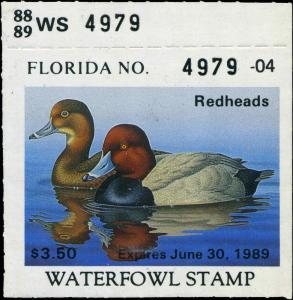 FLORIDA #10 1988 STATE DUCK STAMP REDHEADS  by Ron Louque