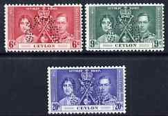 Ceylon 1937 KG6 Coronatio set of 3 perforated SPECIMEN (S...