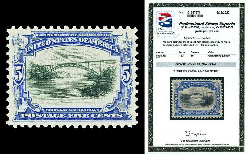 Scott 297 1901 5c Ultra & Black Pan-American Mint NH Graded VF-XF 85 w/ PSE CERT