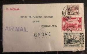 1950 Rangoon Burma Airmail Cover To Union Bank Been Switzerland