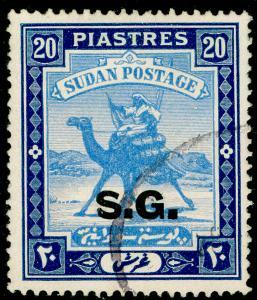 SUDAN SGO42, 20p pale blue & blue, FINE USED. Cat £35.