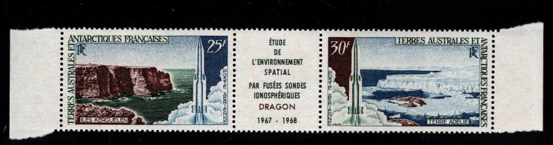 France Southern & Antarctic Territory FSAT Scott C16a MNH** 1968 pair w label