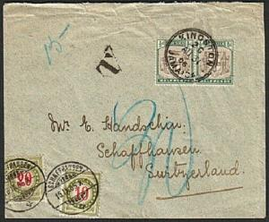 JAMAICA 1905 taxed cover to SWITZERLAND with postage dues added............78493