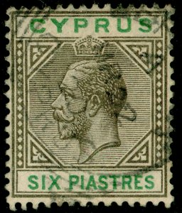 CYPRUS SG80, 6pi sepia & green, FINE USED. Cat £11.