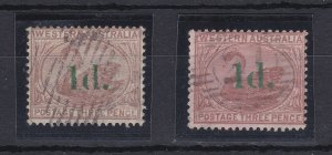WA130) Western Australia 1885 1d on 3d surcharge, both the Pale brown + Cinnamon