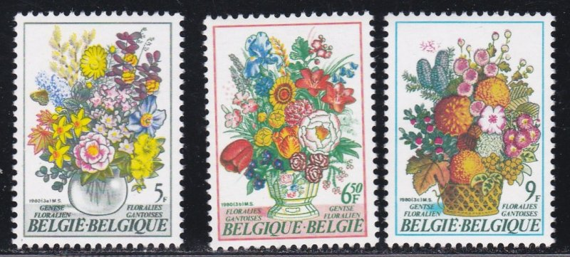 Belgium MNH 1047-9 Ghent Flower Show 1980