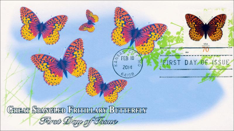 SC 4859, 2014 Great Spangled Fritillary, 70 Cent, FDC  Item 14-024
