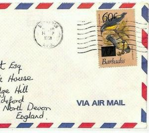 BARBADOS Cover 1981 BIRDS 60c SURCHARGE Commercial Air Mail {samwells}AV290