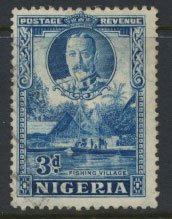 Nigeria  SG 38a  SC# 42a perf 12½ x 13½ Used 1936 issue Fishing Village  pl...