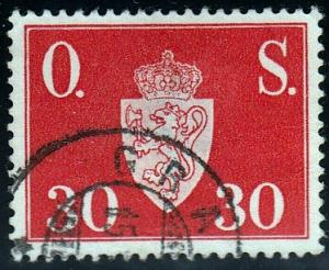 Norway #O61 Norway Coat of Arms, 1951. Lg Thin, SF