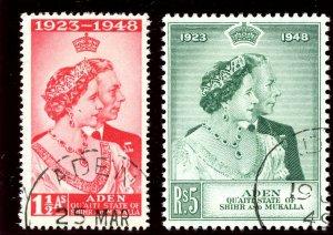 Aden - Qu'aiti 1949 KGVI Silver Wedding set complete VFU. SG 14-15. Sc 14-15.