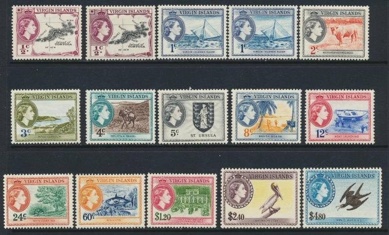 BRITISH VIRGIN IS 1954 SET(+shades)  VF MLH SG#140-61+49A+50A (SEE BELOW)