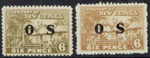 NEW GUINEA 1925 HUT OS 6D BOTH SHADES