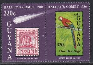 Guyana # 1461, Halleys Comet, Stamp on Stamp, NH, 1/2 Cat.