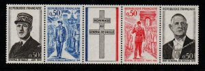 France Sc  1325a 1971 De Gaulle stamp strip mint NH