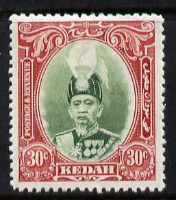 Malaya - Kedah 1937 Sultan 30c green & scarlet fine m...