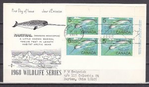 Canada, Scott cat. 480. Narwhal, Marine Life issue. Blk of 4. First day cover. ^