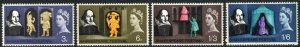1964 Sg 646p/649p Shakespeare Festival (Phosphor) Set of 4 Unmounted Mint