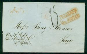 DANISH WEST INDIES 1854 stampless St. Thomas to France red COLONIES & ART 13