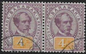 SARAWAK SG11 1888 4c PURPLE & YELLOW USED PAIR