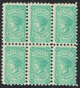 VICTORIA 1901 QV POSTAGE ½D BLOCK WMK V/CROWN DIE III PERF 11