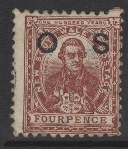 NEW SOUTH WALES SGO26a 1884 4d RED-BROWN p11x12 USED