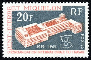 St Pierre & Miquelon 396,MNH. ILO, 50th anniv.Headquarters,Geneva,Emblem, 1969