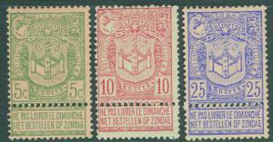 Belgium Scott 76-78 MH*