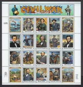 U.S.#2975 CIVIL WAR MINT, VF, NH   FULL SHEET @ FACE VALUE!
