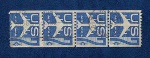 US Sc #C52 Used Rotary Press Coil Horiz. Pairs x2 Strip F-VF