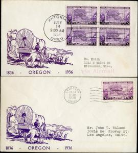 #783-23a BRONESKY FDC CACHET WITH (2) DIFFERENT TOWN CANCELS BN466