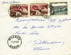 French Equatorial Africa 15F and 5F (2) FIDES Issue 1960 Moanda, Gabon Airmai...