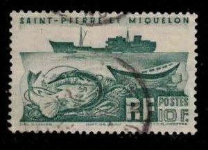 ST PIERRE & MIQUELON Scott # 339 Used - Fishing Trawler & Fish