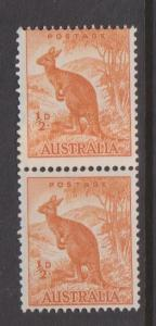 Australia Sc#223A MNH Paste-up Coil Pair with Offset on Back