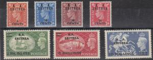 ERITREA  1951  S G E26 - E32  SET OF 7  MH  CAT £85