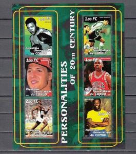 Congo, Dem., 2001 Cinderella issue. Sports Personalities sheet of 6.
