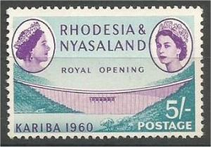 RHODESIA & NYASALAND, 1960, MNH 5sh,  Dam & Queen Mother, Scott 177