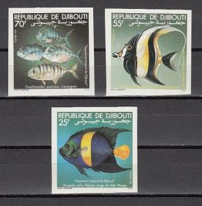 Djibouti, Scott cat. 521-523. Tropical Fish, IMPERF issue.