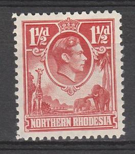 NORTHERN RHODESIA 1938 KGVI GIRAFFE AND ELEPHANT 11/2D RED
