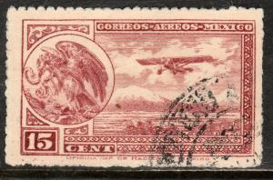 MEXICO C22, 15cts Early Air Mail Plane and coat of arms USED. F-VF. (1050)
