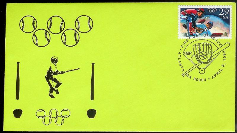 UNITED STATES FDC 29¢ Baseball Olympics 1992 Ken Special