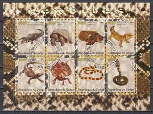 Congo Rep., 2007 issue. Reptiles sheet of 8. Canceled. ^