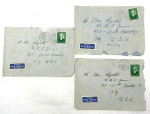 Nymark Norway > Brooklyn NY 1952 3 airmail covers
