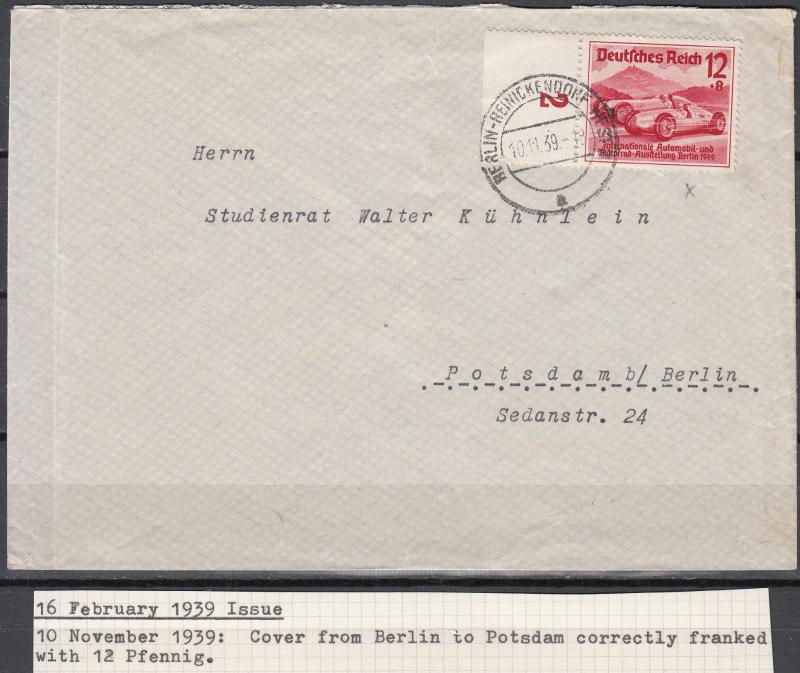 Germany - 10.11.1939 12pf+8 Auto as single franking on cover to Potsdam (1719)
