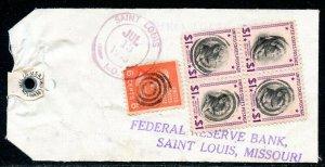U.S. Scott 832 (4), 811 Prexies On 1955 Missouri Bank Tag