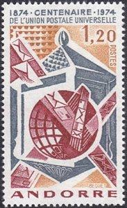 Andorra - French # 235 mnh ~ 1.20fr Mail Box, Chutes, Globe