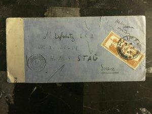 1942 Haifa Palestine cover to HMS Stag Suez Egypt ERA Censored