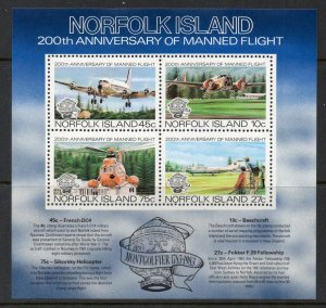 Norfolk Islands MNH S/S 313a 200th Anniversary Manned Flight Aircraft 1983