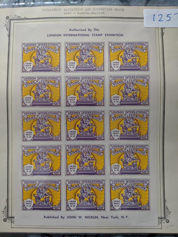 London International Exhibition Poster Stamps, imperf. XF full sheet, CV $125