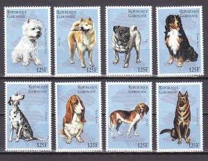 Gabon, Scott cat. 815 a-h. Dogs issue. ^